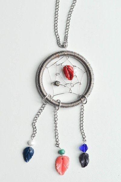 How to make a dream catcher pendant. Wire Dream Catcher Necklace - Step 24