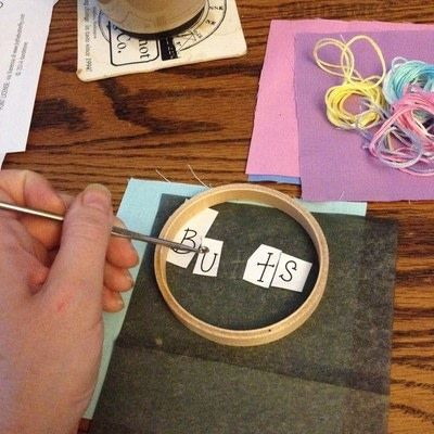 How to embroider art. Humorous Embroidery Using Dandelyne Tiny Hoop - Step 2