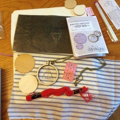 How to make a stitched necklace. Dandelyne Tiny Hoop Deathly Hallows Necklace - Step 1