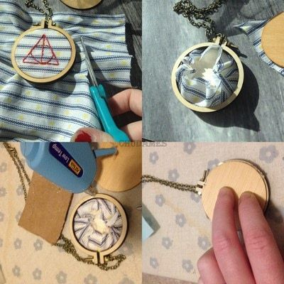 How to make a stitched necklace. Dandelyne Tiny Hoop Deathly Hallows Necklace - Step 4