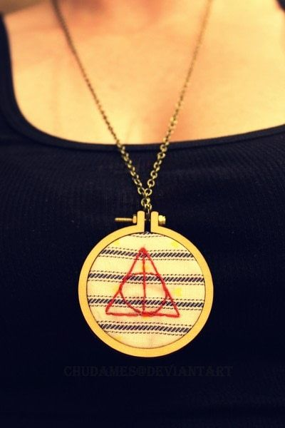 How to make a stitched necklace. Dandelyne Tiny Hoop Deathly Hallows Necklace - Step 5
