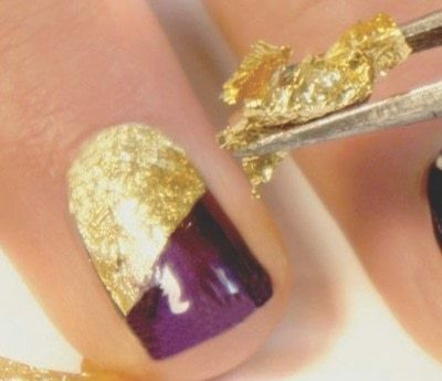 How to paint an embellished nail manicure. Velvet Texture Nails - Step 2