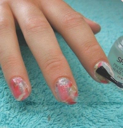 How to paint a magazine / newspaper nail. Napkin Nails - Step 5