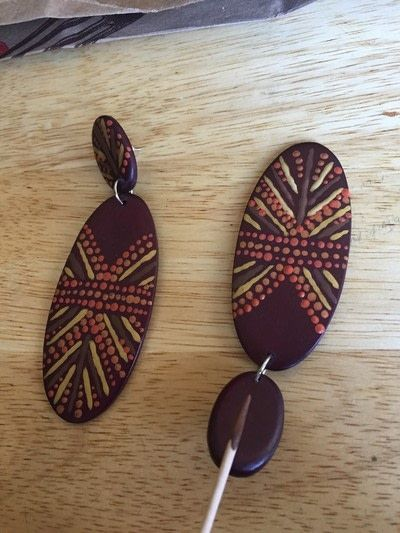 How to make a set of wooden earrings. Handpainted Tribal Earrings - Step 6