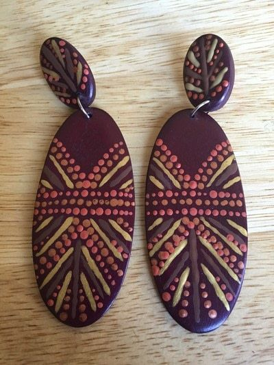 How to make a set of wooden earrings. Handpainted Tribal Earrings - Step 7