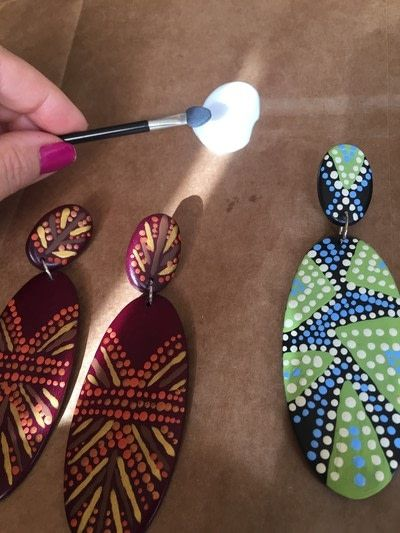 How to make a set of wooden earrings. Handpainted Tribal Earrings - Step 8