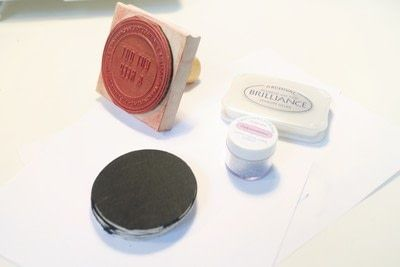 How to paint a painted coaster. Glitter Embossed Coasters - Step 4