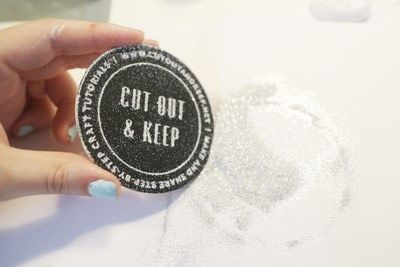How to paint a painted coaster. Glitter Embossed Coasters - Step 9