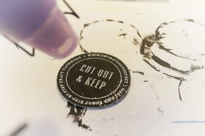 How to paint a painted coaster. Glitter Embossed Coasters - Step 10