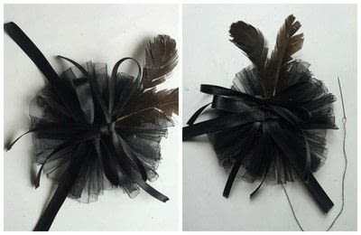 How to make a hat / a piece of headwear. Gothic Ribbon & Feather Hair Band - Step 5