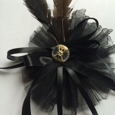 How to make a hat / a piece of headwear. Gothic Ribbon & Feather Hair Band - Step 6