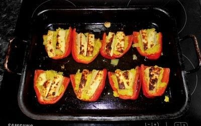 How to cook a stuffed pepper. Couscous And Homemade Halloumi Stuffed Peppers - Step 10