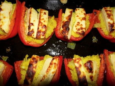 How to cook a stuffed pepper. Couscous And Homemade Halloumi Stuffed Peppers - Step 11