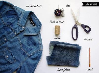 How to make a blouse. [Diy] Mended Denim Shirt à La Frankenstein Style - Step 1