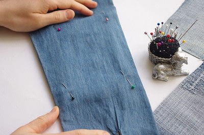 How to make a blouse. [Diy] Mended Denim Shirt à La Frankenstein Style - Step 4
