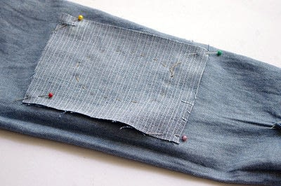 How to make a blouse. [Diy] Mended Denim Shirt à La Frankenstein Style - Step 6