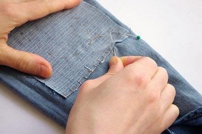 How to make a blouse. [Diy] Mended Denim Shirt à La Frankenstein Style - Step 7