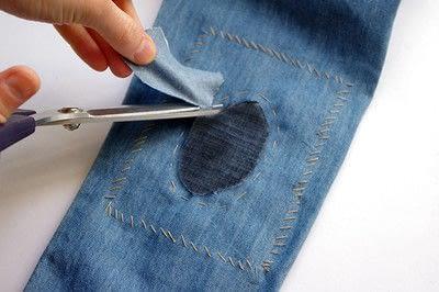 How to make a blouse. [Diy] Mended Denim Shirt à La Frankenstein Style - Step 8
