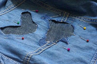How to make a blouse. [Diy] Mended Denim Shirt à La Frankenstein Style - Step 9