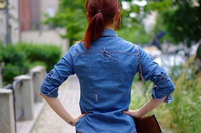 How to make a blouse. [Diy] Mended Denim Shirt à La Frankenstein Style - Step 12