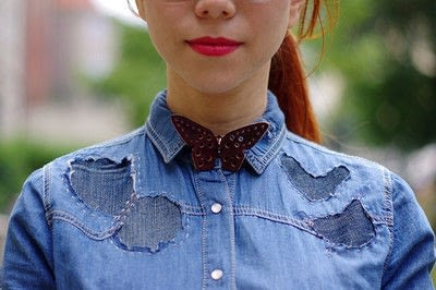 How to make a blouse. [Diy] Mended Denim Shirt à La Frankenstein Style - Step 13