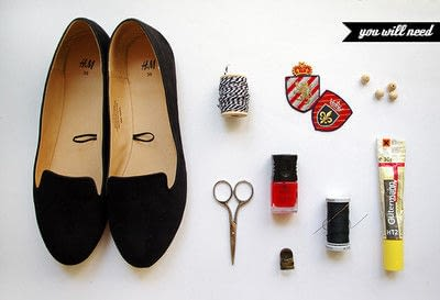 How to sew a pair of fabric slippers. [Diy] Emblazoned Loafers - Step 1