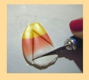 How to mold a piece of clay food. Candy Corn Pendant  - Step 4
