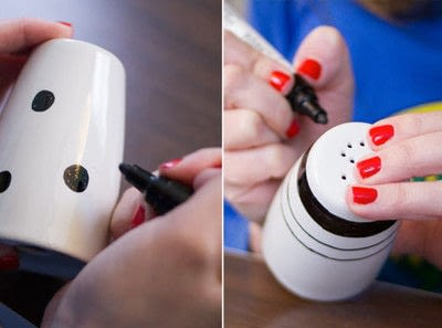 How to make tableware. Painted Salt & Pepper Shakers - Step 2