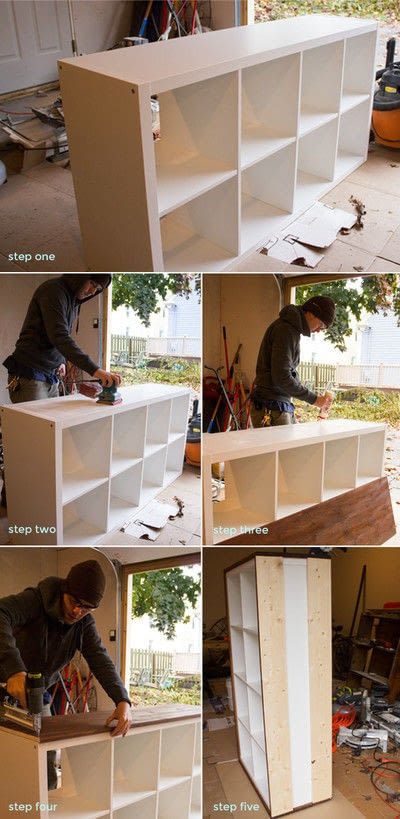 How to make a bookcase / cubby. Diy Modern Wood Wrapped Credenza - Step 1