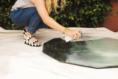 How to make a painted table. Mercury Glass Coffee Table - Step 2