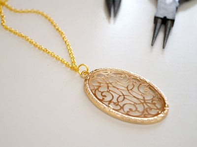 How to make a pendant necklace. Dainty Layered Necklaces Diy! - Step 6