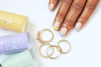 How to paint a French tip. Pastel French Tips Nail Tutorial - Step 6