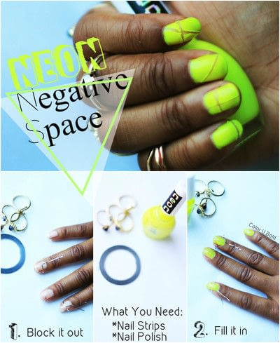 How to paint patterned nail art. Neon Negative Space Nail Tutorial - Step 1