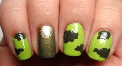 How to paint patterned nail art. Miley Cyrus' Dope Camo Nails - Step 3