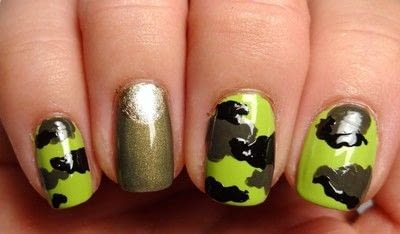 How to paint patterned nail art. Miley Cyrus' Dope Camo Nails - Step 4