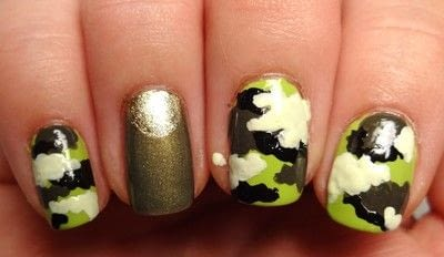 How to paint patterned nail art. Miley Cyrus' Dope Camo Nails - Step 5