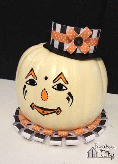 How to decorate a pumpkin. Vintage Clown Pumpkins - Step 6