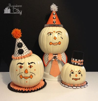 How to decorate a pumpkin. Vintage Clown Pumpkins - Step 7