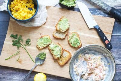 How to cook an avocado toast sandwich. Mango Lobster Avocado Toast - Step 1