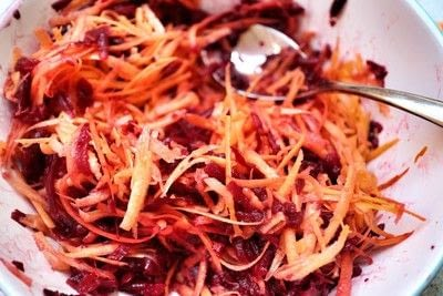 How to cook a vegetable fritter. Carrot, Halloumi & Beetroot Fritters - Step 2