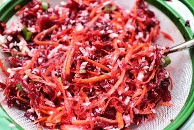How to cook a vegetable fritter. Carrot, Halloumi & Beetroot Fritters - Step 4