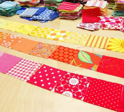 How to make a patchwork quilt. Rainbow Scrap Strip Quilt Tutorial - Step 1