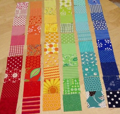 How to make a patchwork quilt. Rainbow Scrap Strip Quilt Tutorial - Step 2