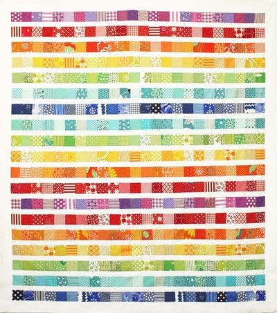 How to make a patchwork quilt. Rainbow Scrap Strip Quilt Tutorial - Step 3