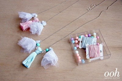 How to make a tassel necklace. Tulle & Thread Tassel Necklace - Step 9