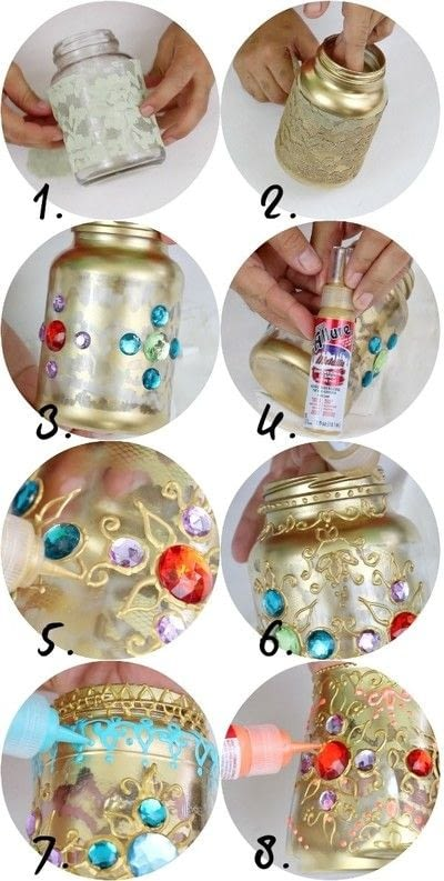 How to make a recycled light. Bejeweled Jar Lanterns - Step 3