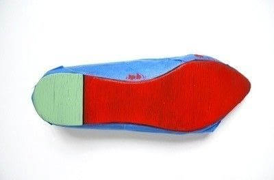 How to paint a pair of painted shoes. Watermelon Painted Soles - Step 3