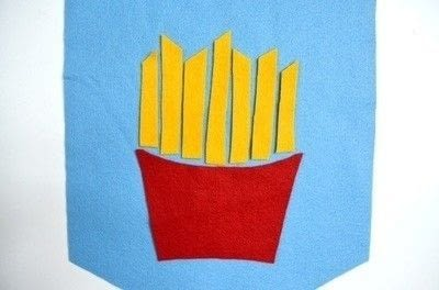 How to make a fabric collage. French Fries Wall Art - Step 2