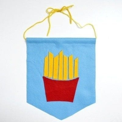 How to make a fabric collage. French Fries Wall Art - Step 6