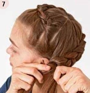 How to style a crown braid. Crown Braid - Step 7